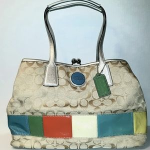 Rare- COACH Signature Stripe Rainbow Frame Carryal